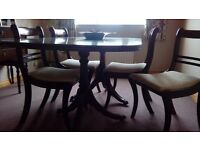 Mahogany Dining Room Table (With Extending Section) and 4 Chairs - Ex Fultons