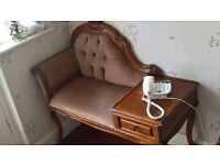 PHONE TABLE SEAT VELOUR BEIGE/CAMEL CARVED BACK & SIDES 36inches LONG. GLUSBURN BD20 8DW, W.YORKS