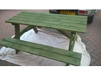 2 wooden picnic pub style benches for sale
