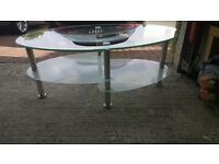 CLEAR TOP AND FROSTED GLASS SHELVES WITH CHROME LEGS 3 LEVEL TABLE