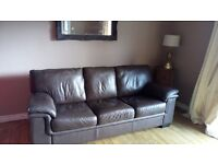 Chocolate Brown 3 seater leather sofa, excellent condition, *Bargain*