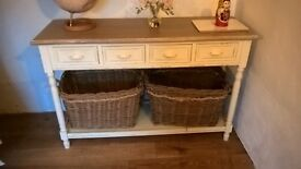 Gorgeous Shabby chic sideboard, with baskets, hall table with storage