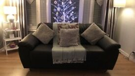 3+2 black leather sofa