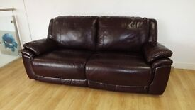 Designer ox blood leather 3 seater + 2 seater sofas + manual chair ( 59) £999
