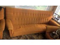 Retro Orange Sofa And Two Chairs