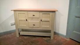 Solid oak sideboard cupboard - shabby chic