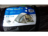 Unused Camping gear including 4 person tent, sleeping bag and back packing stove