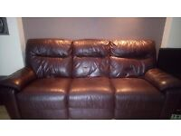 DFS 3 Seater Genuine Leather (ALL OVER) With Recliners