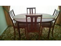 Circular (with straight sides) Mahogany Extending Dining Table and 4 Chairs