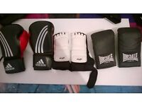 Addidas boxing gloves and other boxing gear
