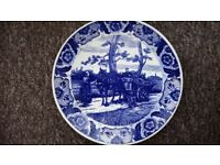 Delfts Blauw Holland Blue & White Charger / Wall Hanging Plate