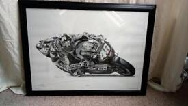 *** ROSSI FRAMED PRINT 2003 REPSOL HONDA Steve whyman - excellent condition ***