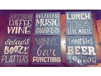 EXPERIENCED PROFESSIONAL CHALKBOARD ARTIST, SIGN WRITER, TYPOGRAPHER, MURAL ILLUSTRATOR - BEST PRICE