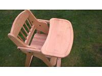 Wooden folding high chair