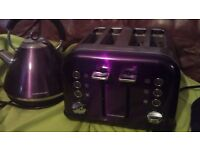 MORPHY RICHARDS PURPLE KETTLE AND TOASTED