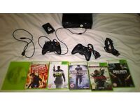 Xbox 360 slim + hard drive, games, Connect, controllers, HDMI