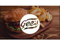 Grill Chef or Food Safety Certified person Willing to take on Role of Gees Burger Chef