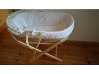Moses basket and sheets for sale
