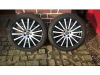 vw golf wolf race wheels,17 inch with v gd tyres,as new condition two off. £60 each.