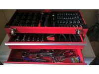3 drawer metal tool chest complete with full socket set,ring and open end spanners plus lots more