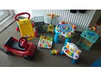Various baby toys, activity tables, walkers etc