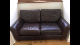 M&S brown leather 2 seater Abbey sofa