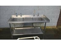 STAINLESS CATERING DOUBLE SINK