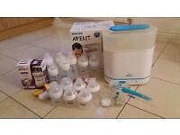 Avent Electric Sterlizer and Set of Brand New and Used Feeding Bottles