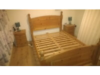 DOUBLE BED FRAME, 2x BEDSIDE CABINET, CHEST OF DRAWERS £140 ono