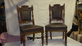 Set of 6 old oak framed ding chairs with upholstered back and seat.