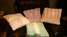 Hand made crochet cushion covers and cushion pads