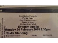 1 Bon Iver Ticket Hammersmith 26th February