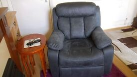 Two grey Suede Recliner armchairs