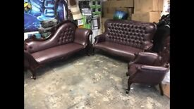 Leather suite antique design modern looking 3 seater love sofa 2 seater 2 chairs mahogany with brown