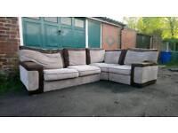 Brown & cream jumbo cord corner sofa. Can deliver