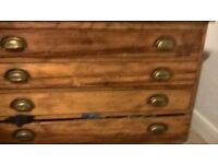 Antique Oak Architects Drawers with Brass handles - Reduced price - £295