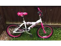 Girls pink and white bike used once