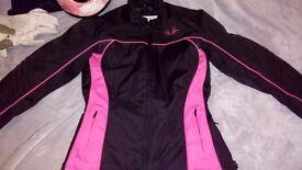 Womens motorcycle jacket size medium, helmet and gloves