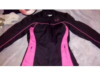 Womens motorcycle jacket size medium, helmet and gloves