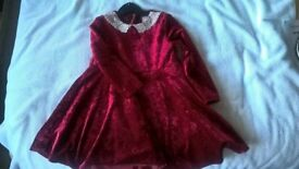 Red crushed velvet dress age 18-24 months