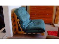 Single wooden Futon sofa bed with cushion mattress