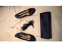 Dorothy Perkins blue satin shoes uk size 6 with matching bag and fascinator from BHS