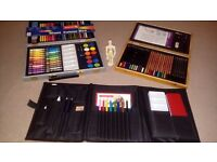 3 Assorted Art/Drawing Sets, Plus Small Wooden Figure, Brand New