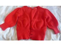 Beautiful, bright red, Ted Baker cardigan, 70 per cent angora. Perfect, unmarked, clean condition.