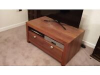 Oak TV Unit/Table with shelf and two drawers