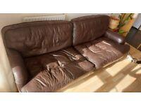 Big, 4 seater comfy leather Sofa