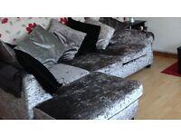 Corner sofa Silver crushed velvet