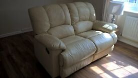 sofa for sale, cream leather, reclines both sides, very good condition