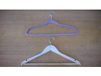 65 hangers -(30 wooden + 17 velvet + 23 plastic + 5 trousers) - Very good condition!!