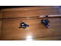 new ron Thompson spinning rod 9ft plus 2 new reels one is a Mitchell the other a Shakespeare